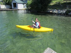 Mrs. Singleterry in a yellow kayak